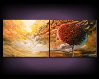 "art abstract painting dr. seuss tree canvas wall art xxl canvas painting Original Painting 22 x 56 x 1.5"" thick"