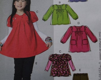 McCalls M6153 Childrens and Toddlers Tops, Dress and Leggings (uncut)