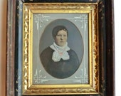 Victorian Deep Wooden Frame  Hand Colored Tintype Woman Portrait Name Back Side Dallas