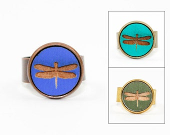 Dragonfly Ring - Laser Cut Wood in Adjustable Setting (Choose Your Color / Made To Order)