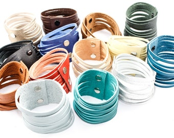 Handmade Leather Cuff - Sliced Strips - Choose Your Color and Size