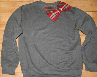 Plaid bow sweatshirt