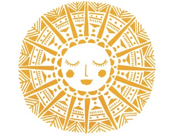 Maya Sun Limited Edition Screen Print (Yellow Ochre) A3 size
