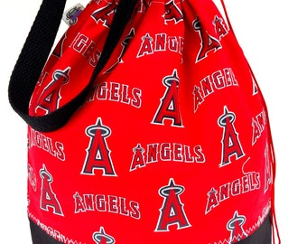 Large Knitting Project Bag Crochet Drawstring Tote WIP Bag -  The Angels
