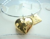 Tough Love Hammered Heart with You and Me Charm Gold Plate and Silver Plate Bangle Bracelet
