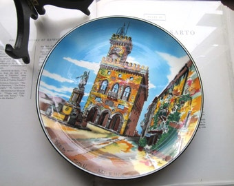 Vintage San Marino Plate * Vintage Italy * Souvenir Wall Plate * Colorful italy * The Palazzo Pubblico *Statue of Liberty * Ceramica Titano