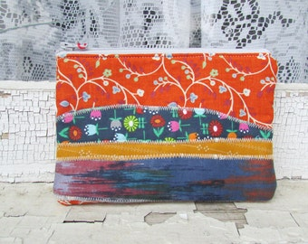 the orange floral multi pattern pouch ... one of a kind, cotton, zipper pouch