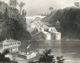 1852 Antique Print of the Rideau Canal in Ottawa - Canals and Dams - Plate 10