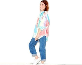 HALF OFF one day ONLY Vintage 80s Pastel oversized blouse