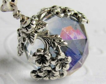 The World in Bloom - ceiling fan pull, home decor, crystal purple ball charm, antiqued silver floral draping, rainbow, light, lamp