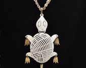 Vintage 1970s White Metal and Gold Tone Turtle Necklace Marked Alan