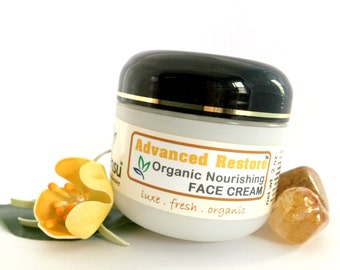 Advance Restore™ Organic Argan Oil Nourishing Face Cream for Sensitive Skin   Gem Infused   Green Tea Extract   Vegan   No Gluten - 2 oz