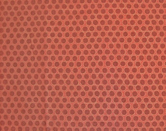 COUPON CODE SALE - End of Bolt - Moda , Miyabe, Circles, Coral,  Metallic Gold Touches, 100% Cotton Quilt Fabric, Quilting Fabric