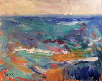 Seascape Abstract painting | interior design | Abstract Painting | Colorful Wall Art | blue orange | ORIGINAL 16 x 20 inch by Potak,