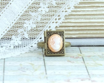 Locket Ring Cameo Ring Victorian Jewelry Book Locket Ring Book Lover Gift Victorian Ring Book Jewelry