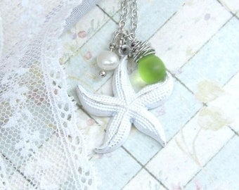 Nautical Necklace Sea Glass Necklace Starfish Necklace Beach Jewelry Ocean Necklace Starfish Jewelry