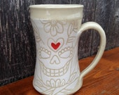 White Sugar Skull Love Mug