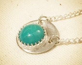 Crowned Eclipse Turquoise Silver Pendant Necklace