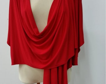 Women clothing, multiway shrug, red jersey, 7 in 1, one size