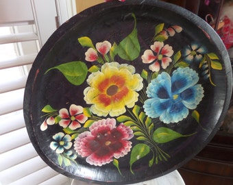 Pretty Wooden Hand Painted Tray/Bowl