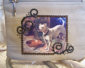 Beigh Leather Crossbody Purse with a Pitbull Dog and Rhinestones