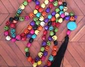 Sugar skulls mala -108 beads hand knotted