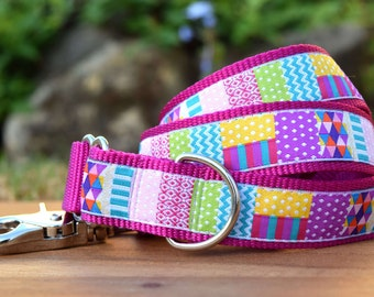 Patch dog leash, Bright Patchwork Dog Lead, Made in Australia, Custom length from traffic leash up to 180cm/6ft