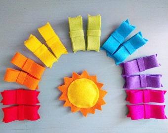 Felt Rainbow   Set of 7 Felt Bows