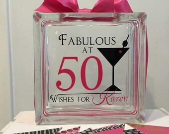 50th Birthday Wish Block - Wish Jar - Martini Themed - Fabulous at 50  - Guest Book Alternative