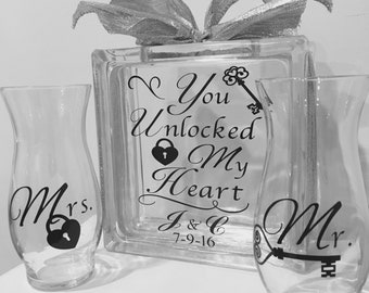 "Unity Sand Ceremony Containers - Glass Block with ""You Unlocked My Heart"" 2 Side Vases - personalized Family Sand Ceremony - Blended Family"