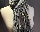Fringe art scarf, Fringie in Houndstooth, black cream grey, houndstooth lightweight ribbon, Handmade Scarf, boho scarves, fashion, women