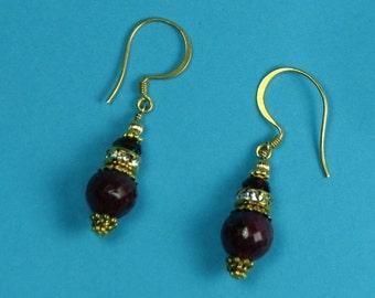 Gold-filled Genuine Ruby Earrings, July Birthstone Earrings, Natural Red Faceted Gemstone Drop Earrings
