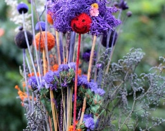Orange Craspedia Funny face Bouquet-Shades of purples-PB6 Halloween flower bouquets-Caspia-Hill flowers-Glittered Birch-Purple statice