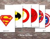 Superhero Centerpiece, Superhero Centerpiece SET, INSTANT DOWNLOAD, 6 pc Superhero Decorations, Superhero Stickers, Diy Superhero Party