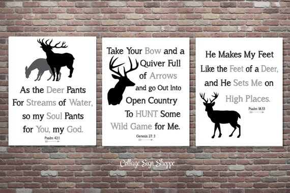 Hunting Decor, Psalm 18:33, Genesis 27.3, Psalm 42.1, INSTANT DOWNLOAD, Boys Hunting Nursery,Hunting Signs,Man Cave Signs,Hunting Scriptures