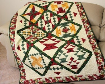 Christmas Lap Quilt,  Poinsettia Sampler Quilted Sofa Throw, Red, Green and Gold, Quiltsy Handmade