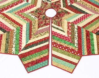 Christmas Tree Skirt Quilt - Chevron Style Scrappy Red Green Gold Strings Quilted Tree Skirt, Quiltsy Handmade