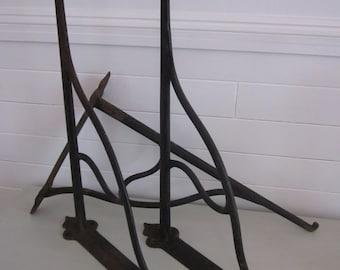 Antique cast iron factory ex-large shelf brackets set of three