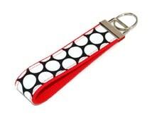 Polka Dots Wrist Keychain - Black and White Polka Dot fabric on Red Key Fob - Wristlet - Bag Tag - UGA colors