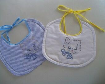 Retro Baby Bib Embroidered Kitten, Kitschy Vintage Baby Bib
