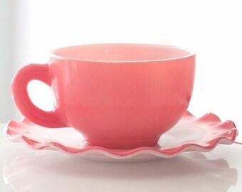 Hazel Atlas Pink Crinoline Cup and Saucer