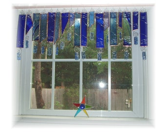 Cure for the Blues Number TWO   Stained Glass Window Treatment Valance