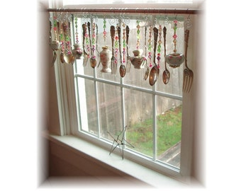FREE SHIPPING ! Savings of Twenty Dollars Shipping Costs!  Grannies Garden Party  Shabby Cottage Vintage  Kitchen Window Treatment