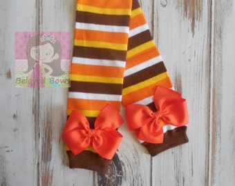 Thanksgiving Stripes Leg Warmers with Matching Bows for Baby Toddler Girl