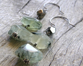 Green Prehnite and Pyrite Sterling Silver Earrings, Light Green Gemstone Earrings
