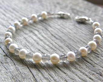 Pearl and Labradorite Medical ID Bracelet, Blue Flash Alert Bracelet, Sterling Silver Clasp Replacement Bracelet