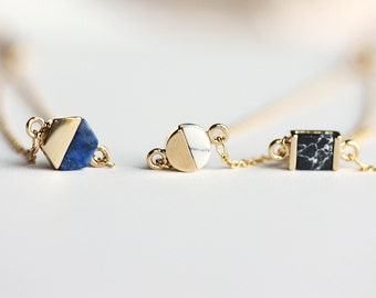 Dainty Geometric Gold Bracelet-Hexagon.Circle.Square.Gift for her.Gift for BFF,Layered style.Blue.White.Black.Gemstone bracelet.Adjustable