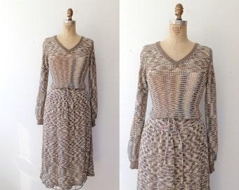 vintage knit dress / space dyed dress / Paintbrush knit dress