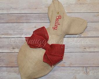 Personalized Burlap Cat Stocking - Cat Christmas Stockings - Fish Shaped Stocking for Cats - Personalized Cat Stocking, Tan Burlap & Red Bow