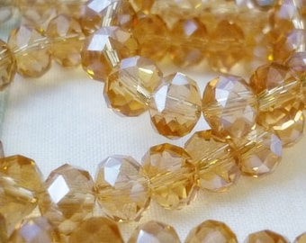 8mm AB Champagne Rondelle Crystal Beads- 8 Rondelle Crystals